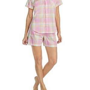 Lauren RL Womens Camp Shirt Boxer Pajama Set